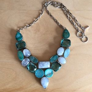 Turquoise stone & crystal statement necklace